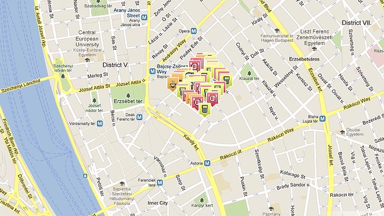 budapest romkocsma térkép Térképen a budapesti bulinegyed   444 budapest romkocsma térkép