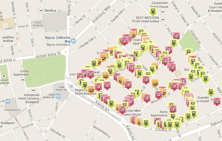 budapest romkocsma térkép 50 vendéglátóhely 100 nap alatt   444 budapest romkocsma térkép