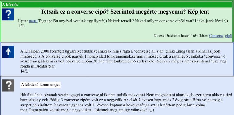A Converse-rejtélyre a fontos dolgokról mindent tudó gyakorikerdesek.hu sem  tudja a választ. 306253bc9b