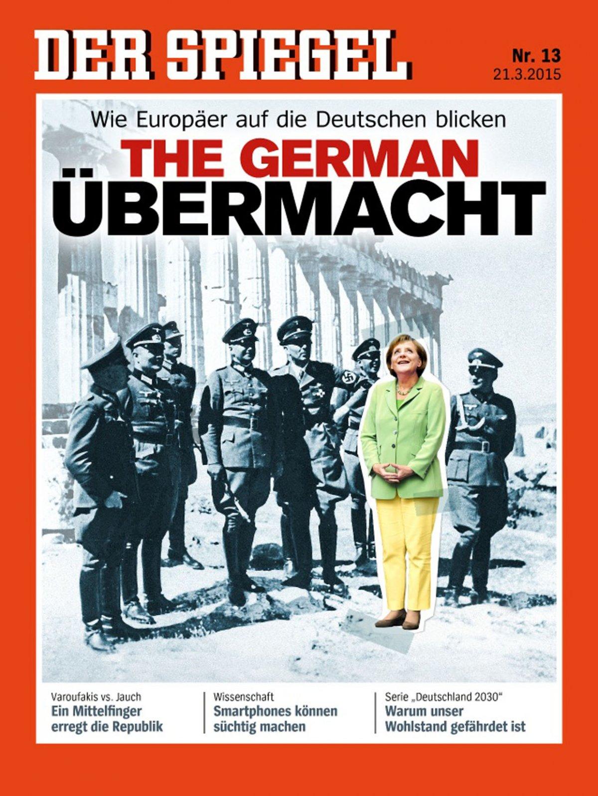 A Spiegel márciusi, botrányos címlapja, amin arra utaltak, hogyan látják Németországot Európában