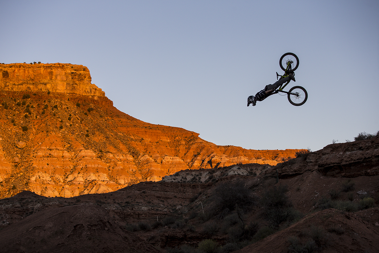 Nicholi Rogatkin front flips during Red Bull Rampage in Virgin, Utah, USA on 24 September 2014. // Christian Pondella/Red Bull Content Pool // P-20140925-00009 // Usage for editorial use only // Please go to www.redbullcontentpool.com for further information. //