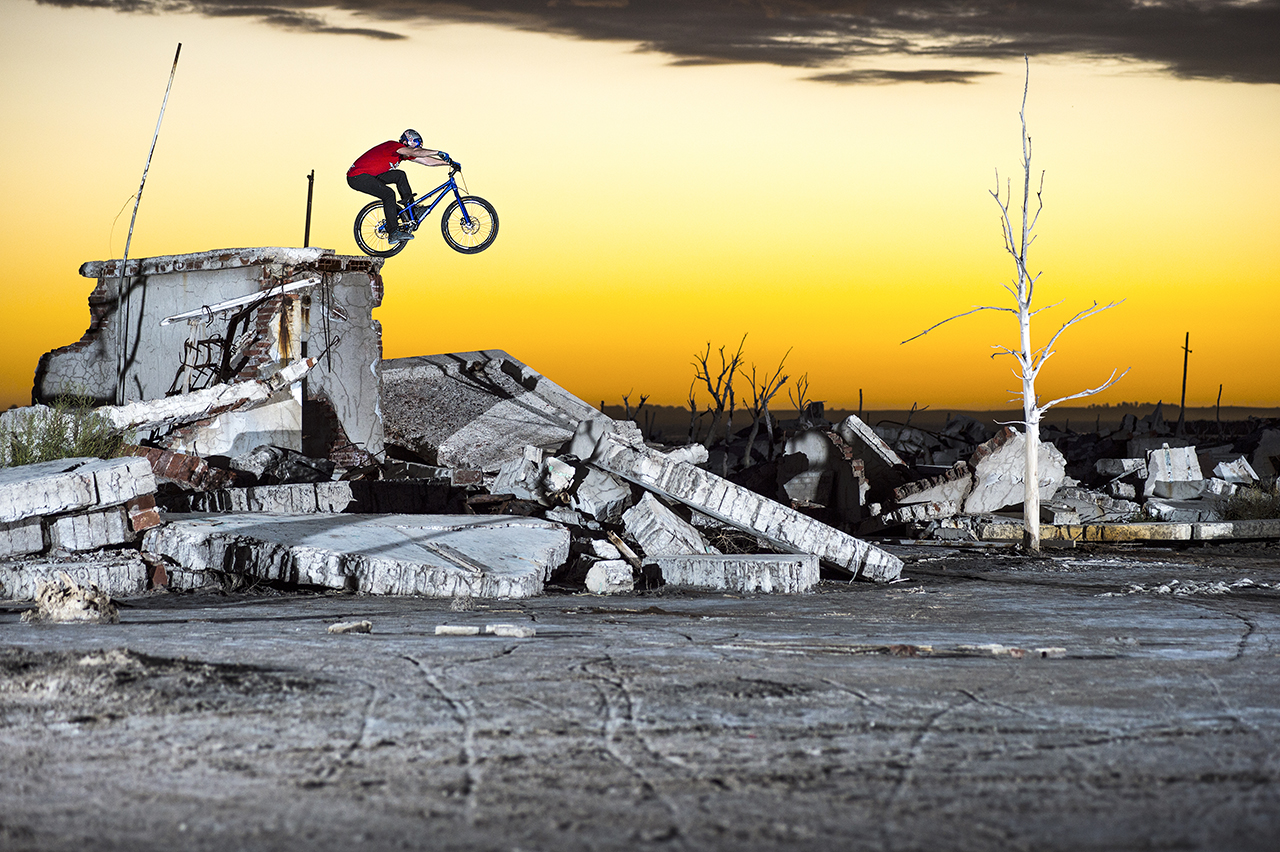 Danny MacAskill performs at the abandoned village of Epecuén, Argentina on March 6th 2014 // Fred Murray / Red Bull Content Pool // P-20140526-00774 // Usage for editorial use only // Please go to www.redbullcontentpool.com for further information. //