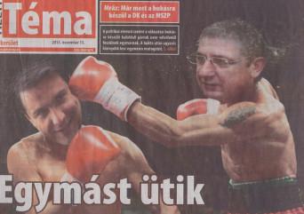 Helyi Téma címlapja, Gyurcsány és Mesterházy ökölvív, béna Photoshop